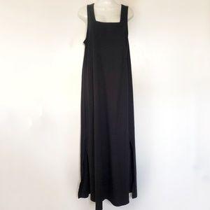Fresh Produce Dress Large Maxi Black Vintage Cotto